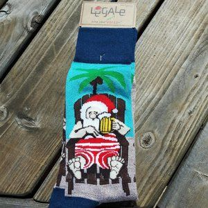 Le Gale Palm Trees Santa Christmas Socks 8-12
